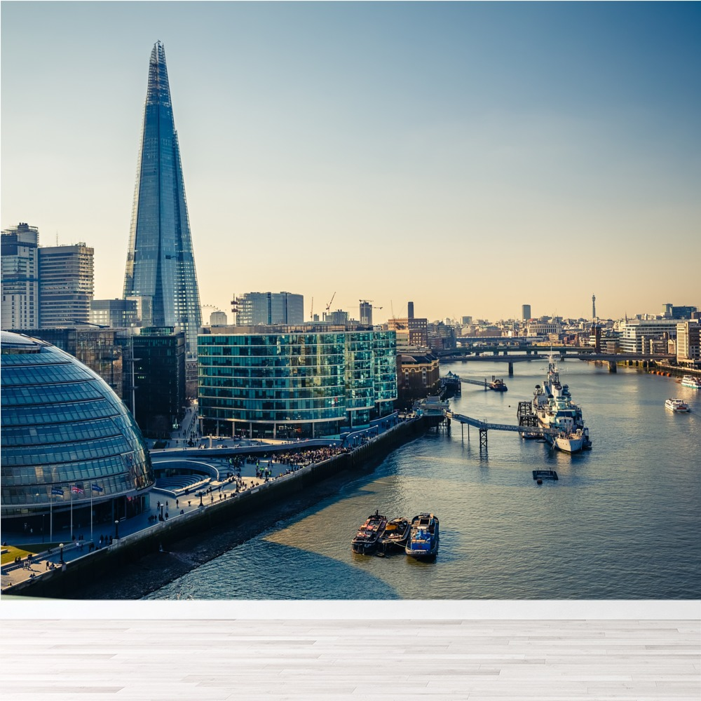 Details About London Skyline Wall Mural Thames River Sunset Photo Wallpaper Office Home Decor