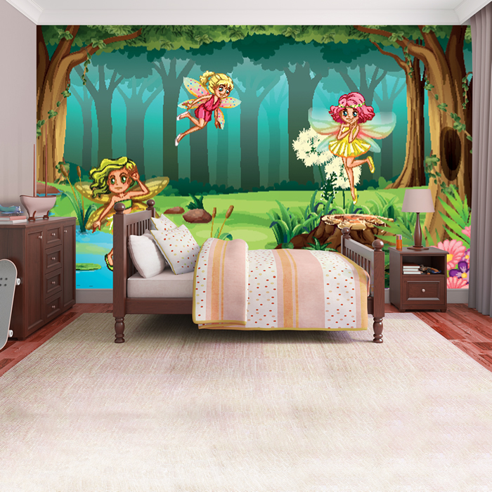 Forest Fairy Wall Mural Fairytale Fantasy Photo Wallpaper Girls Bedroom Decor