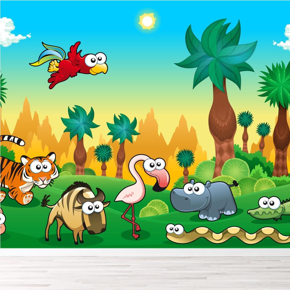 Dschungel tiere wandbild l wentiger foto tapete - Dschungel tapete kinderzimmer ...