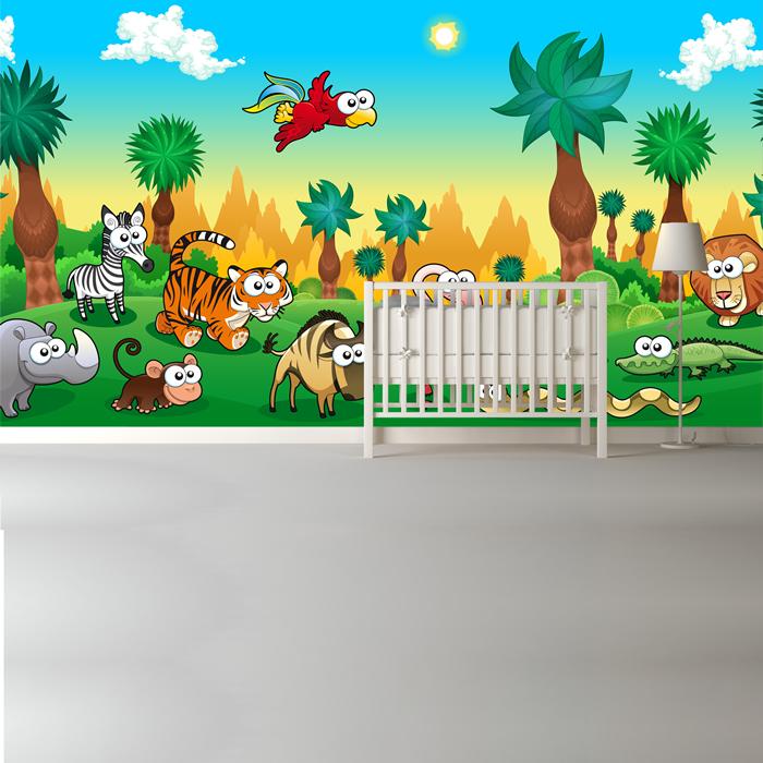 dschungel tiere wandbild l wentiger foto tapete kinderzimmer kinderzimmer dekor ebay. Black Bedroom Furniture Sets. Home Design Ideas
