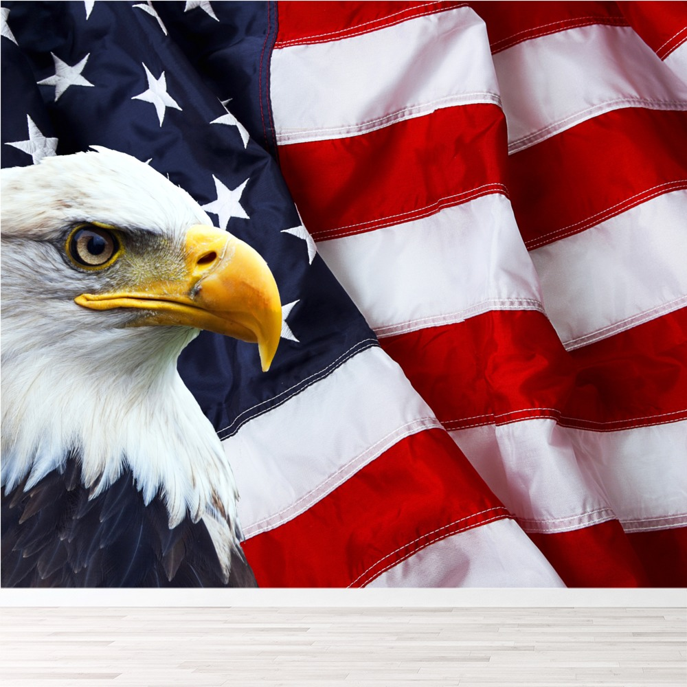 American Flag Bald Eagle Wall Mural Wallpaper Ws 42545 Ebay