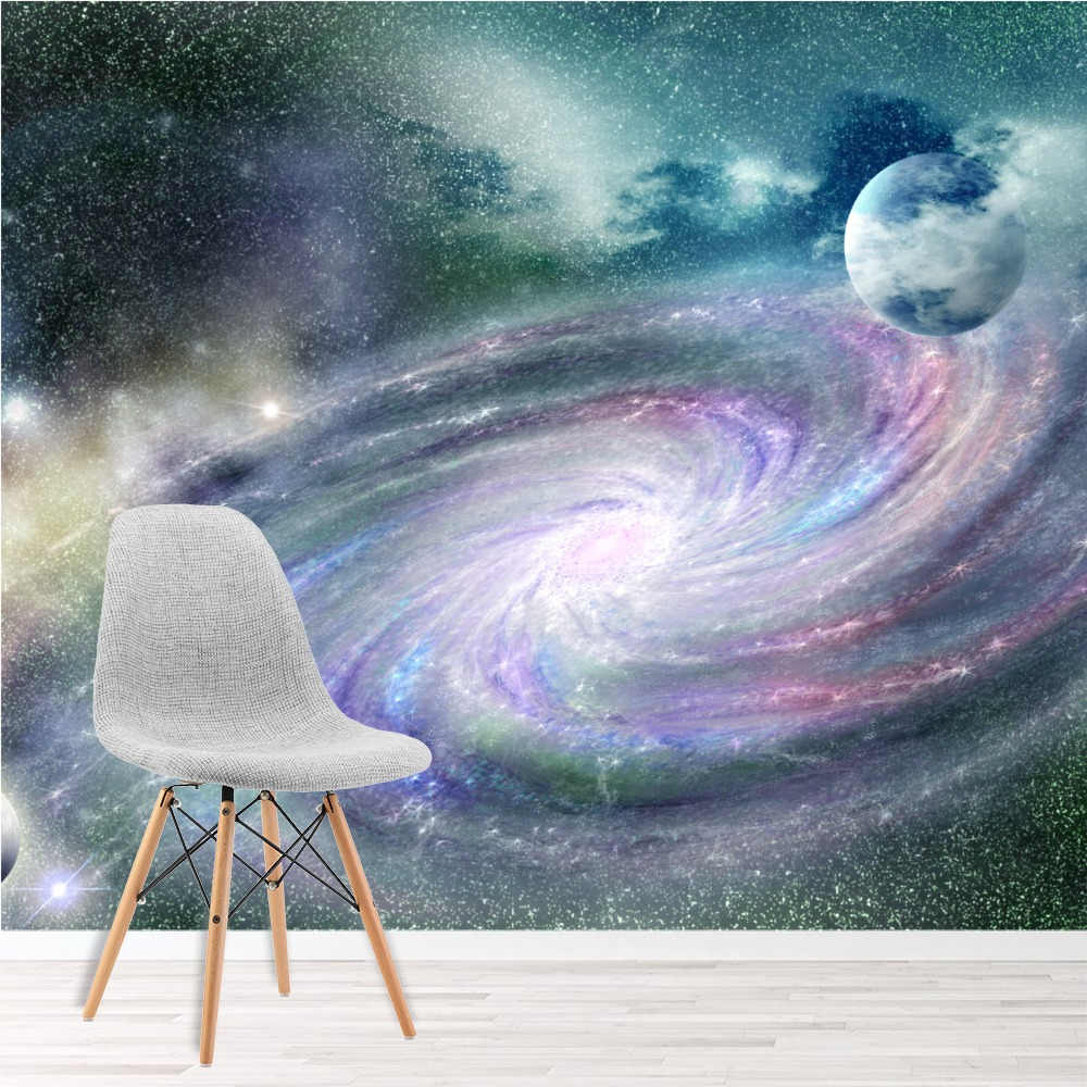 lila galaxy spirale wandbild raumnebel foto tapete schlafzimmer haus dekor ebay. Black Bedroom Furniture Sets. Home Design Ideas