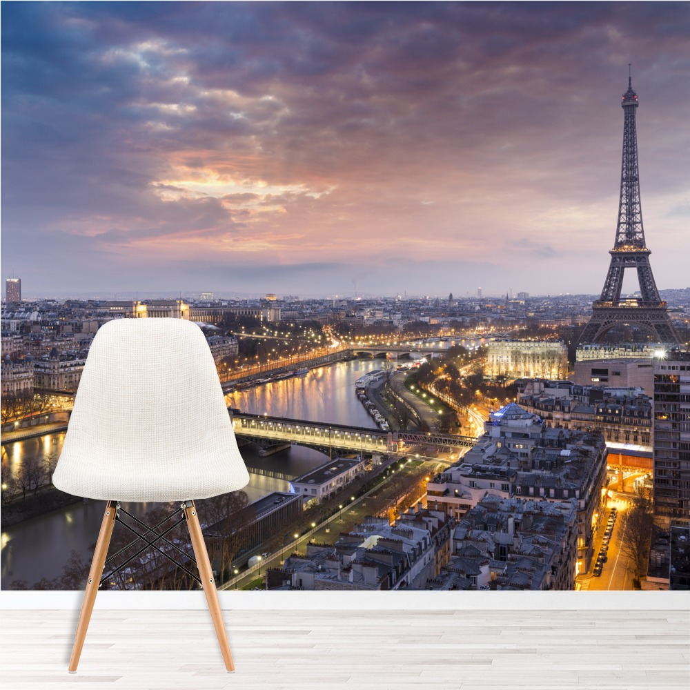 Eiffel Tower Sunset Wall Mural City Skyline Paris Photo Wallpaper
