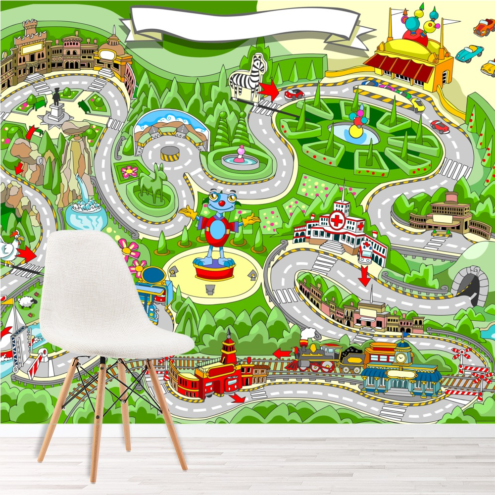 Race Car Wall Mural Fun Maps Photo Wallpaper kids Bedroom Playroom