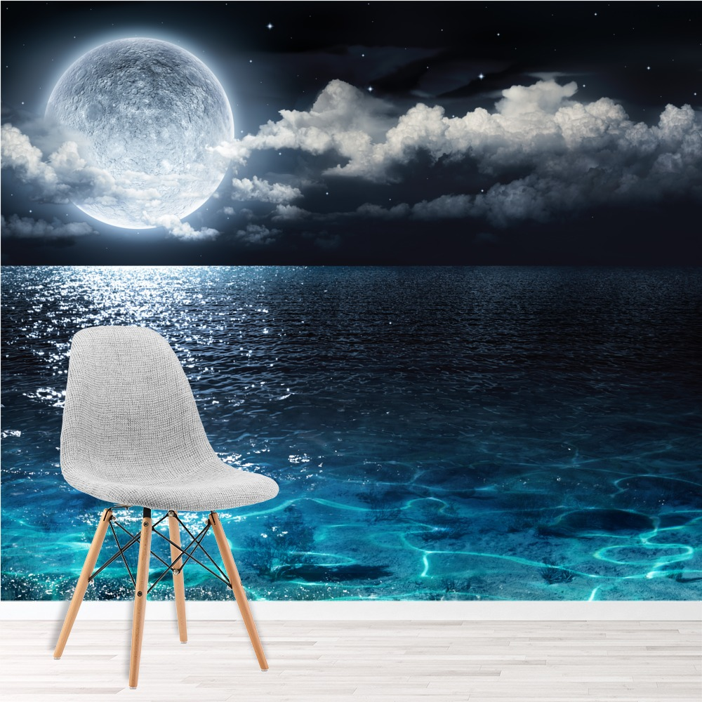 Full Moon Wall Mural Night Ocean Seascape Photo Wallpaper