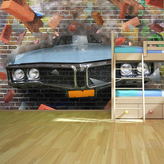 graffiti auto kunst wandbild 3d foto tapete kinder schlafzimmer haus dekor ebay. Black Bedroom Furniture Sets. Home Design Ideas