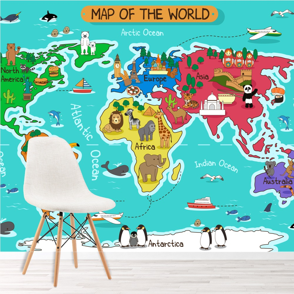 Cartoon Animal World Map Wall Mural Map Photo Wallpaper Kids Bedroom