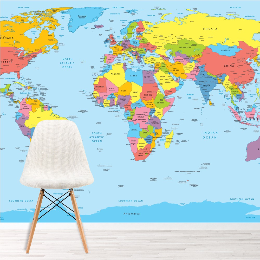 World map wall mural maps photo wallpaper living room for Home wallpaper world map