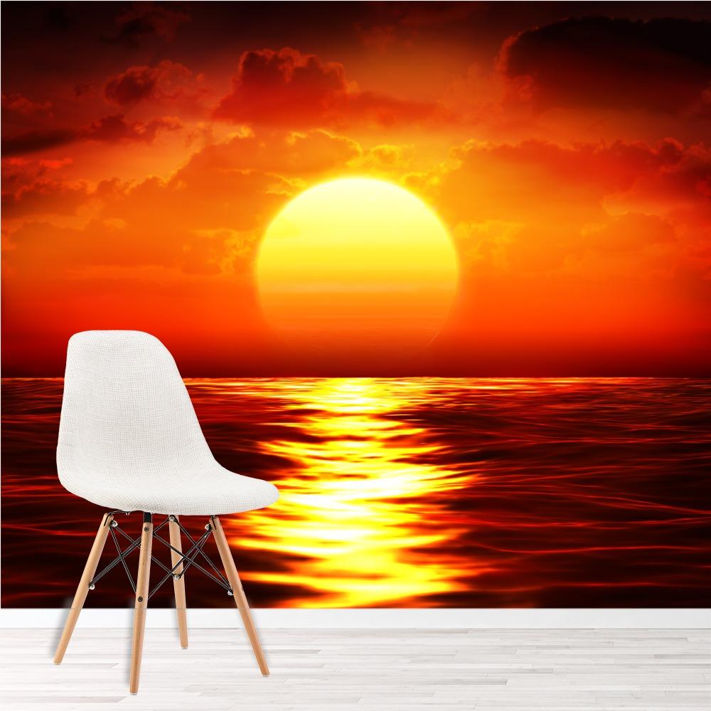 Details zu Roter Sonnenuntergang Fototapete Ozean Seascape Tapete  Wohnzimmer Schlafzimmer