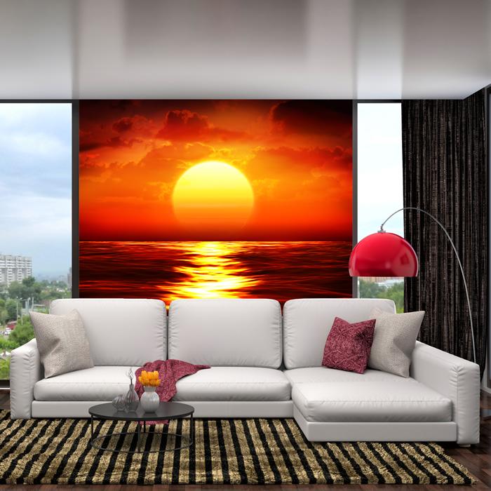 Red Sunset Wall Mural Ocean Seascape Photo Wallpaper