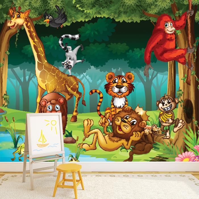dschungel tiere wandbild l we giraffe foto tapete kinderzimmer wohnkultur ebay. Black Bedroom Furniture Sets. Home Design Ideas