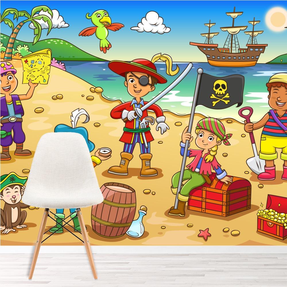 Pirate Scene Wall Mural Pirate Ship Photo Wallpaper Kids