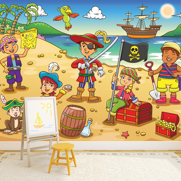 Pirate Scene Wall Mural Pirate Ship Photo Wallpaper kids Bedroom ...