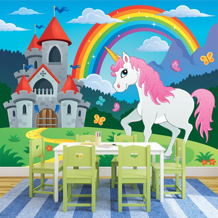 einhorn fototapete regenbogen m rchen tapete m dchen kinderzimmer wohnkultur ebay. Black Bedroom Furniture Sets. Home Design Ideas
