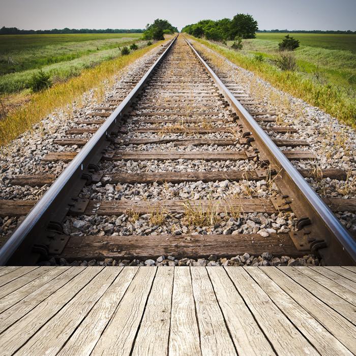 Train Tracks Wall Mural Railway, Railroad Photo Wallpaper ...