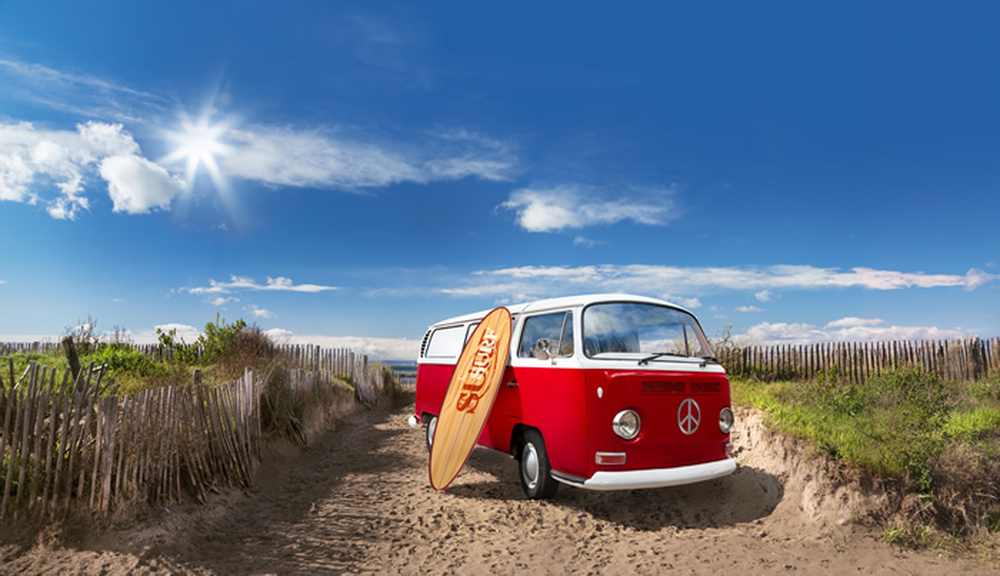 Red Campervan Wall Mural Beach Surf Photo Wallpaper