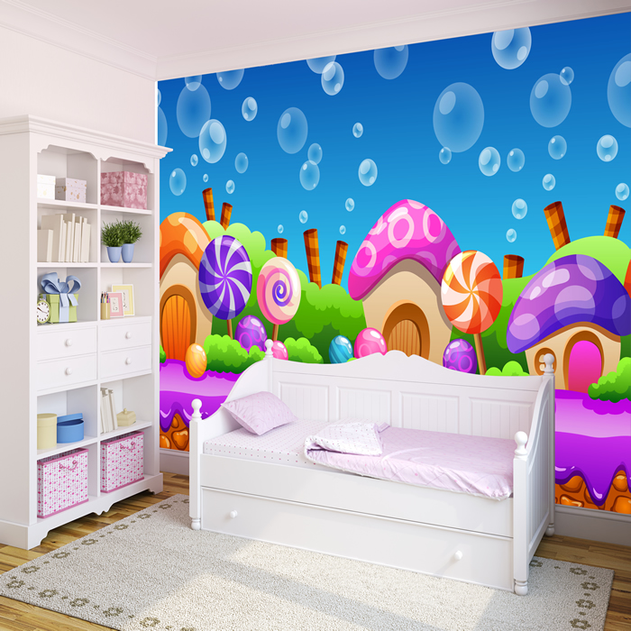 Candy land wall mural pink purple fairytale photo for Candyland wall mural