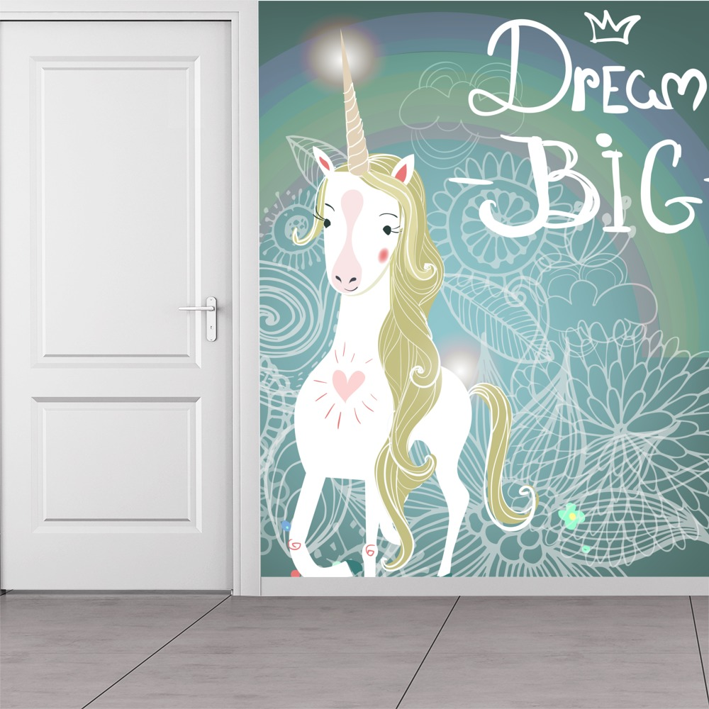 White Unicorn Wall Mural Dream Big Photo Wallpaper Girls Room