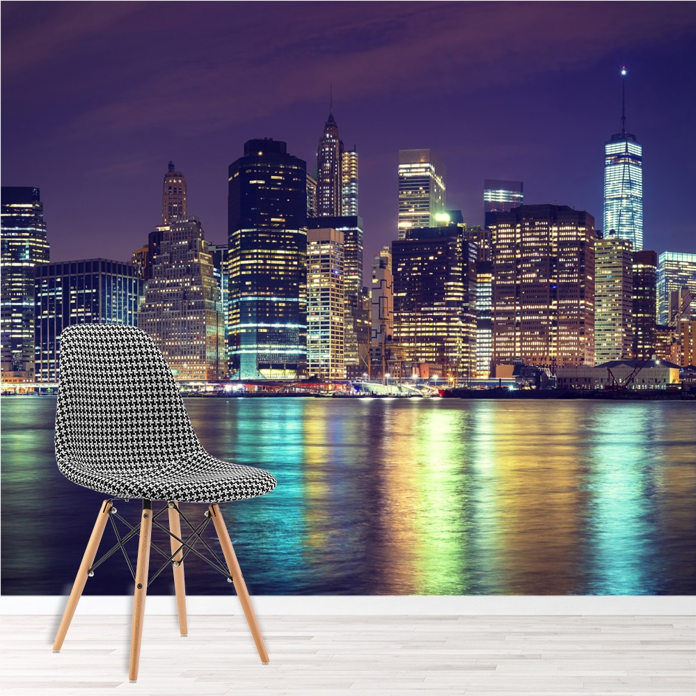 Manhattan Night Wall Mural City Skyline New York Photo Wallpaper Bedroom  Decor