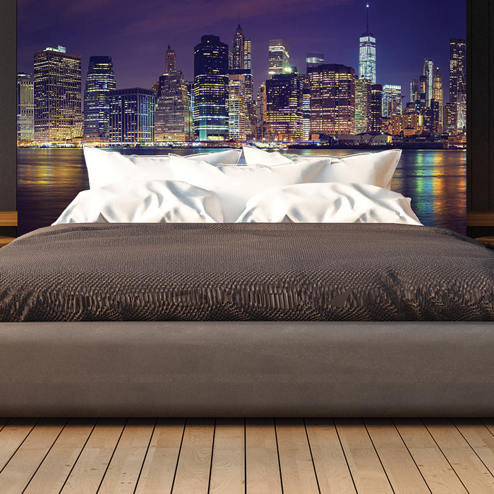 manhattan nacht wandbild stadt skyline new york foto tapete schlafzimmer dekor ebay. Black Bedroom Furniture Sets. Home Design Ideas