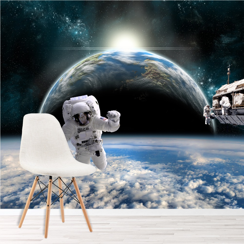Astronaut space wall mural planet earth photo wallpaper for Astronaut wall mural
