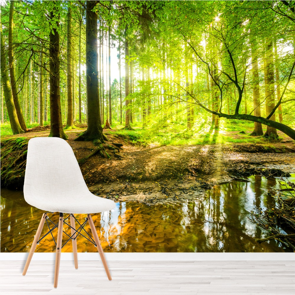 Green Tree Wall Mural Forest Landscape Photo Wallpaper Living Room ...
