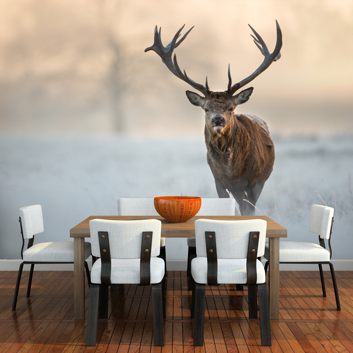 Red stag deer wall mural white winter landscape photo for Deer landscape wall mural