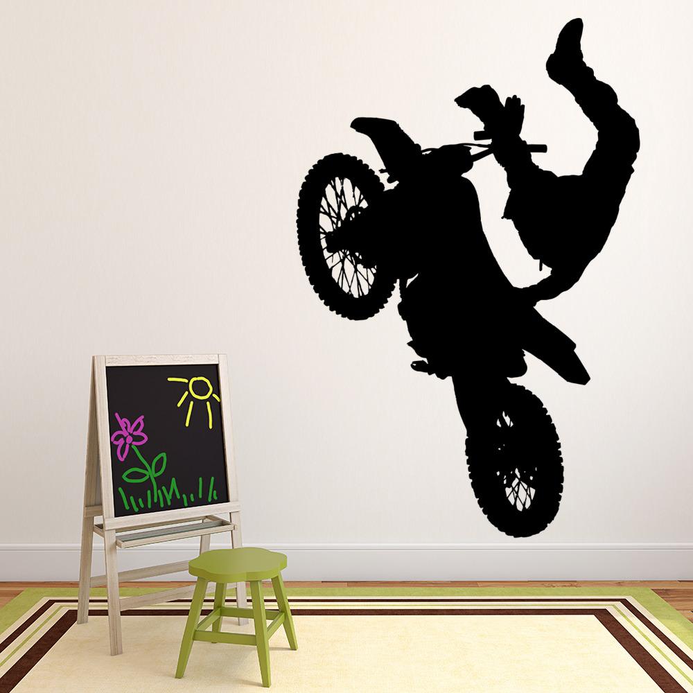 Dirt Bike Jump Wall Sticker Motorbike Wall Decal Boys Bedroom Home ...