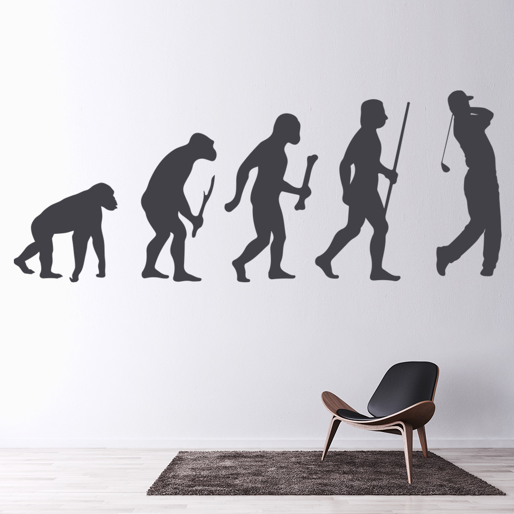 Golf evolution ape to man stick to golf club golf wall sticker golf evolution ape to man stick to golf club golf wall sticker sports art decals amipublicfo Gallery