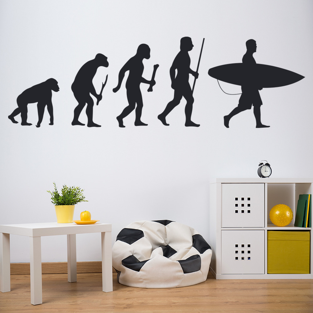Surfing evolution ape to surfer surfboard surfing wall stickers surfing evolution ape to surfer surfboard surfing wall stickers sports decals amipublicfo Gallery