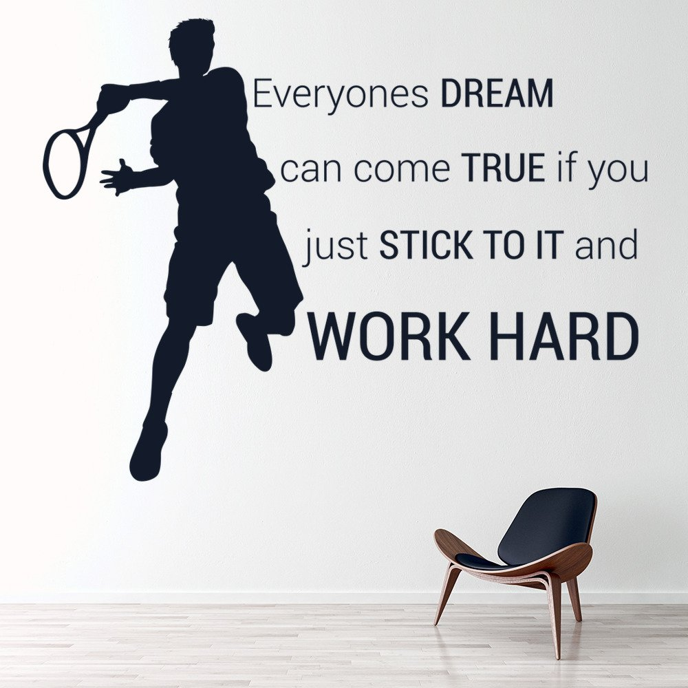 . Details about Work Hard Wall Sticker Tennis Quote Wall Decal Sports Bedroom  Home Decor