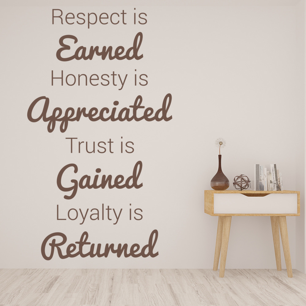 Life Quote Wall Stickers Alluring Respect Honesty Trust Wall Sticker Inspirational Quote Wall Decal
