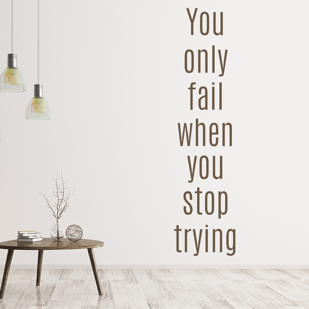 inspirational office decor. You Only Fail Wall Sticker Inspirational Quote Decal School Office Decor
