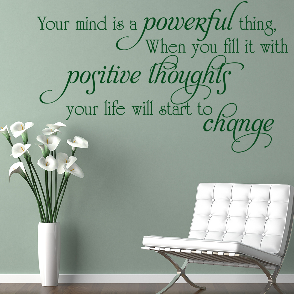 Positive Thoughts Wall Sticker Inspirational Quote Wall ...