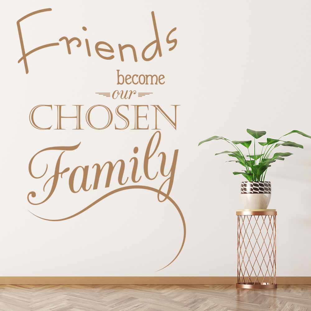 Friends become our chosen family quote inspirational wall sticker friends become our chosen family quote inspirational wall sticker home art decal amipublicfo Image collections