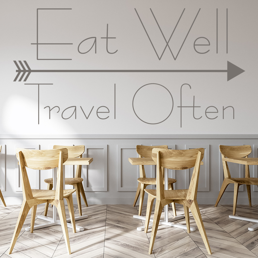 Eat Well Travel Often Wall Sticker Inspirational Quote Wall Decal ...