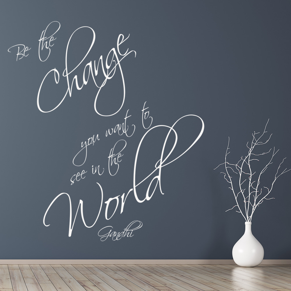 Be The Change Wall Sticker Gandhi Quote Wall Decal Inspirational ...