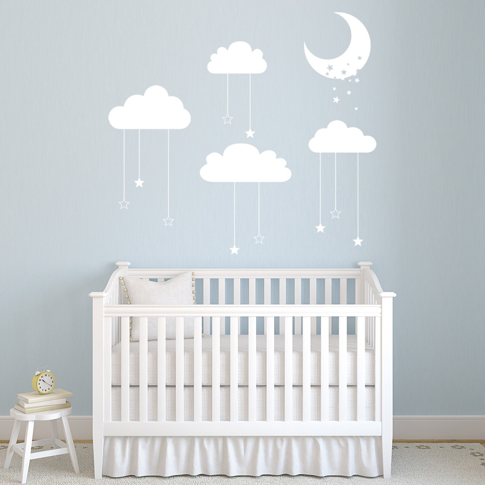 Details About Stars Moon Cloud Nursery Wall Decal Sticker Ws 44156