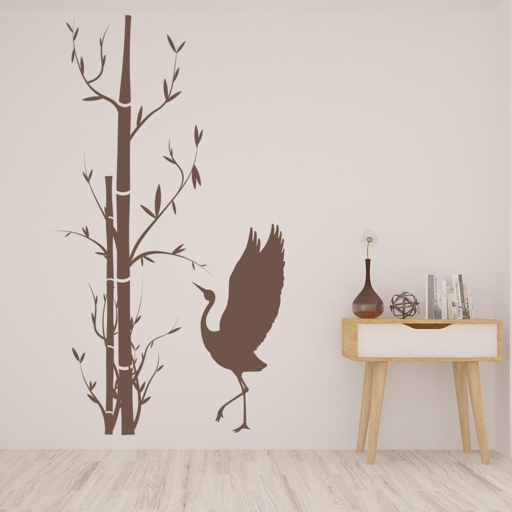 Arbre bambou autocollant mural oiseau d coratif sticker for Autocollant dcoratif mural