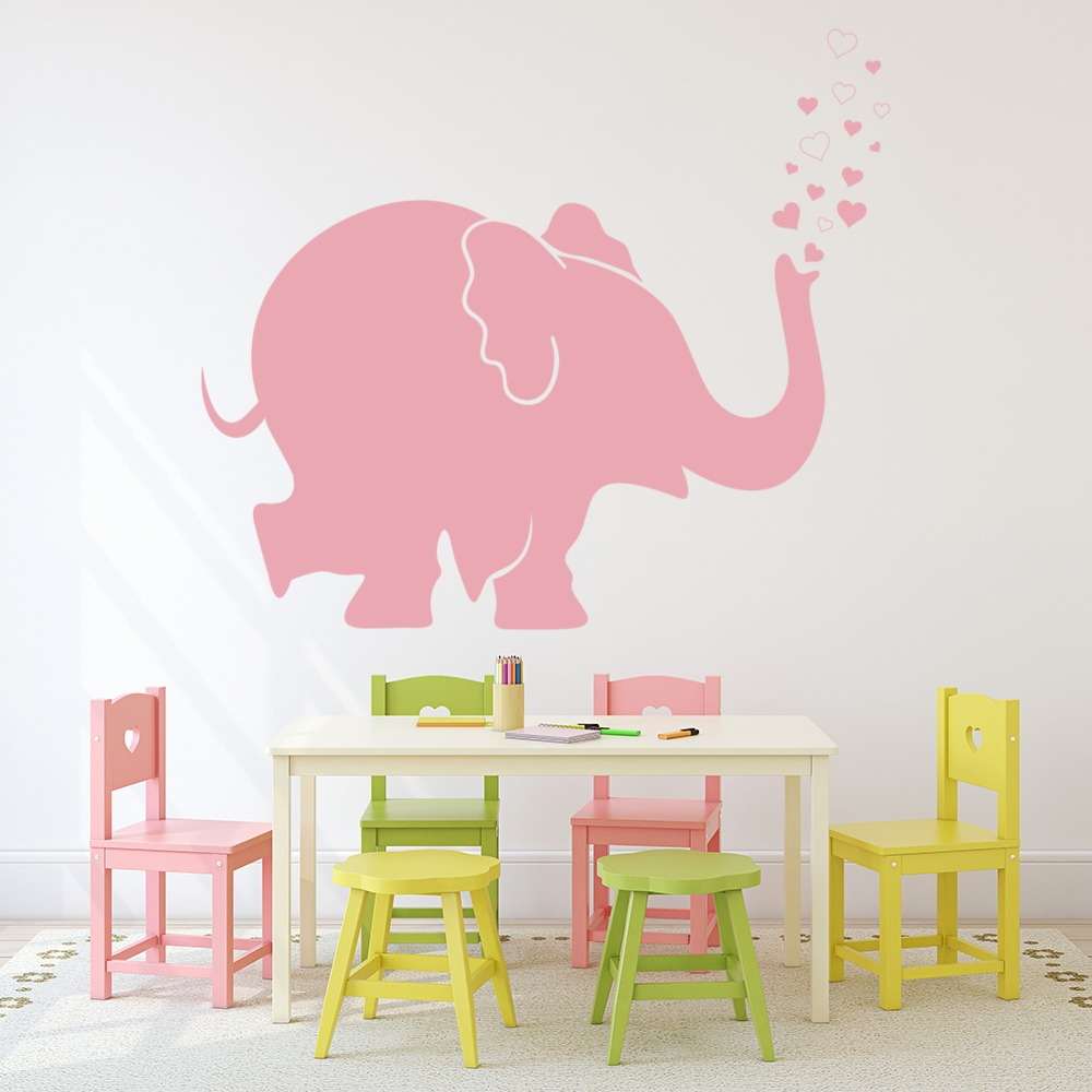 3 Cute Elephants Hearts Nursery Bedroom Baby Wall Art Vinyl Decal Sticker V199