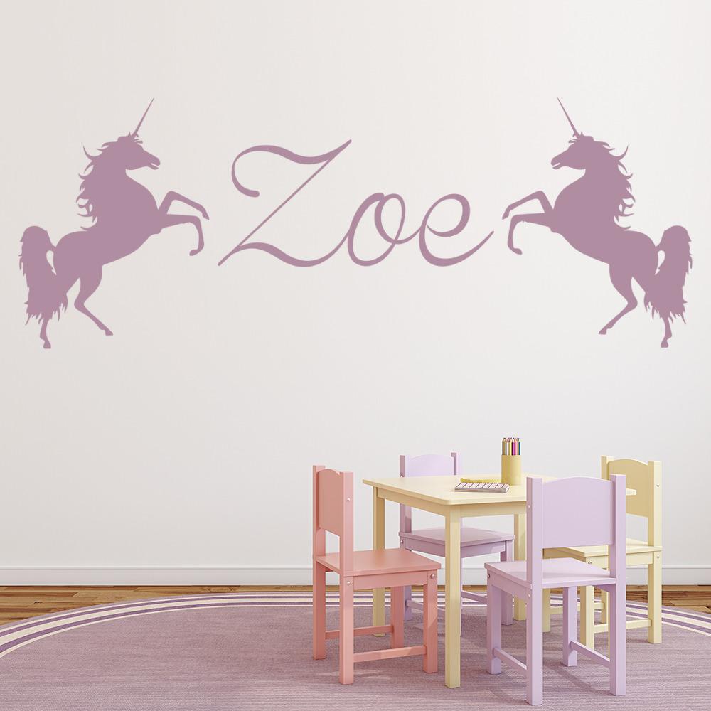 Personalised Name Wall Sticker Unicorn Wall Decal Girls ...