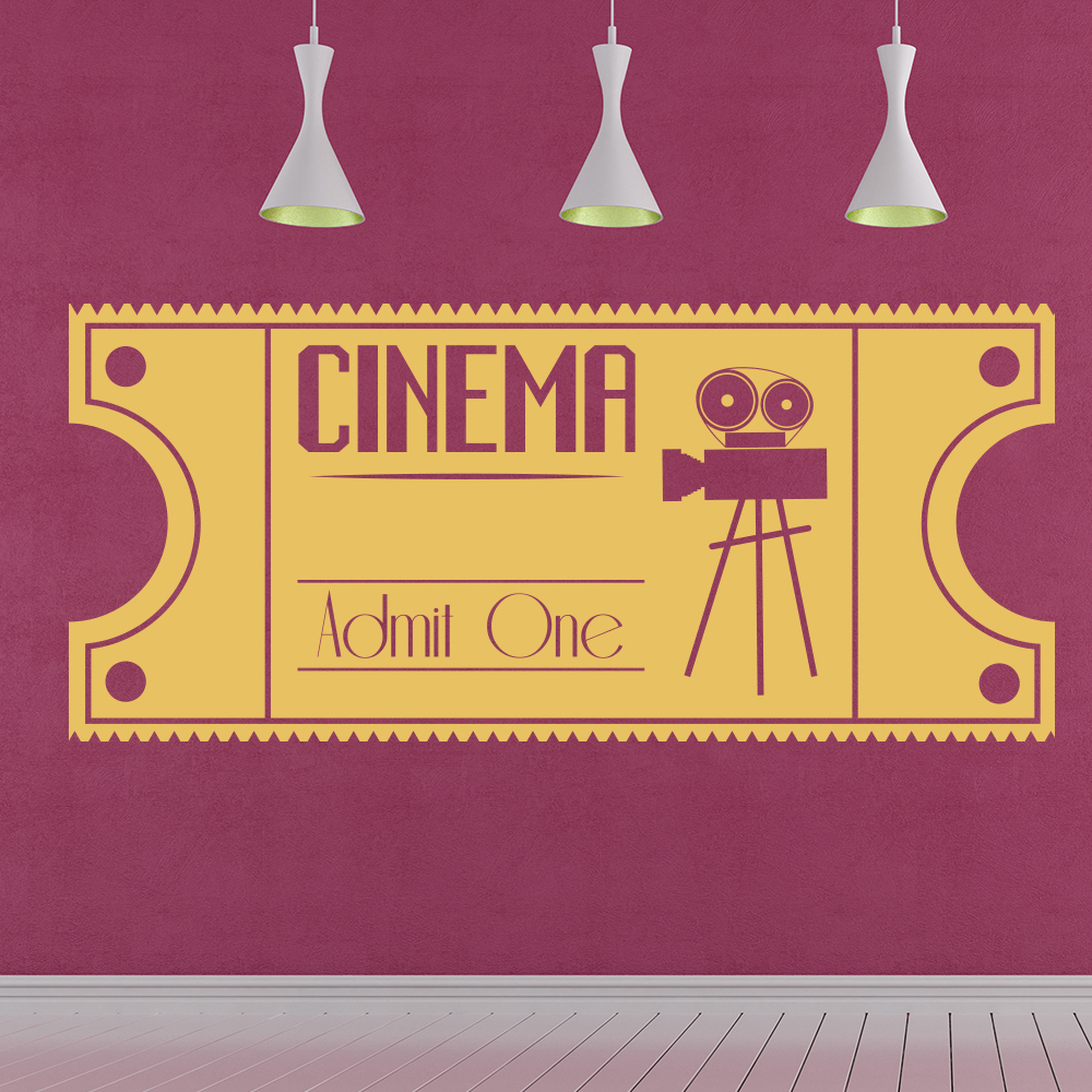 Cinema Ticket Wall Sticker Vintage Movie Wall Decal Film Home Decor ...
