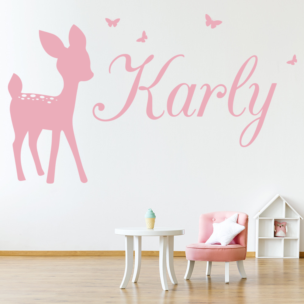 Personalised Name Wall Sticker Deer Bambi Wall Decal Girls Bedroom ...