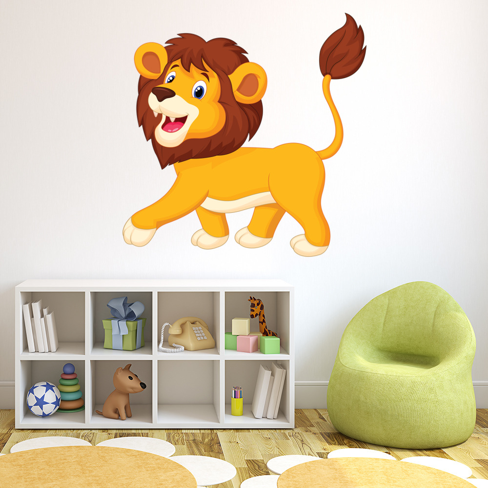 Fun Lion Wall Sticker Safari Animal Wall Decal Kids Bedroom Home ...