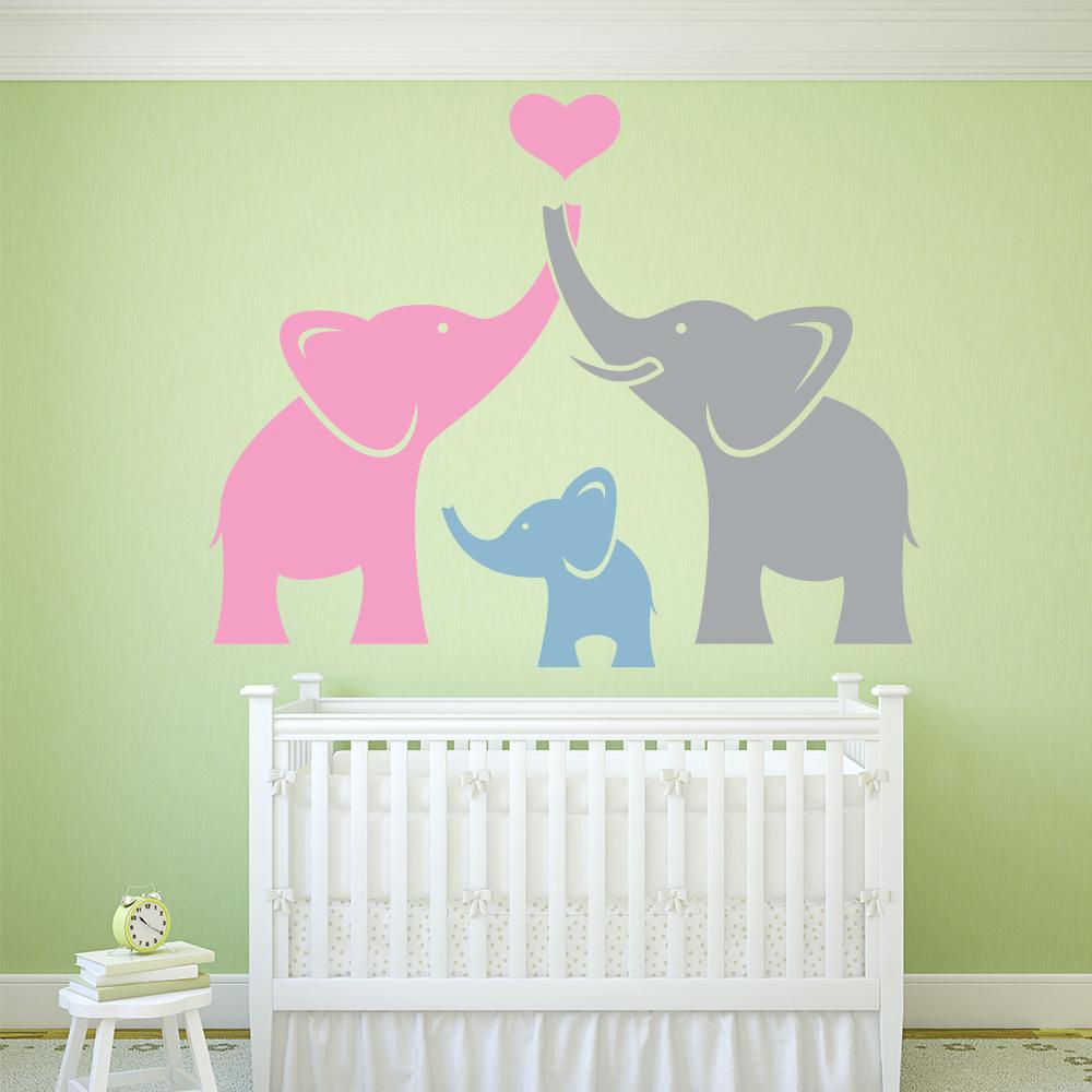 Cute Home Decor: Elephant Family Wall Sticker Cute Animals Wall Decal