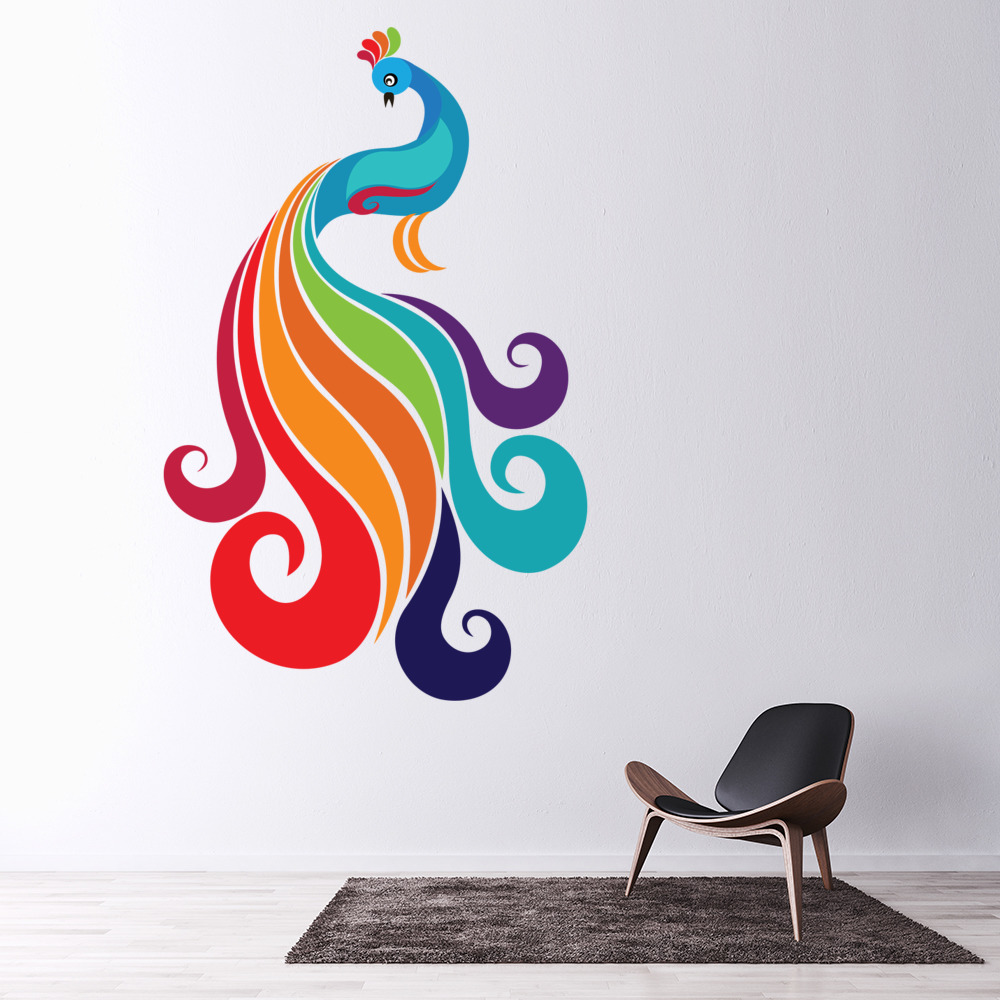 Classic Rainbow Peacock Wall Sticker Birds Wall Decal Girls Bedroom Home  Decor