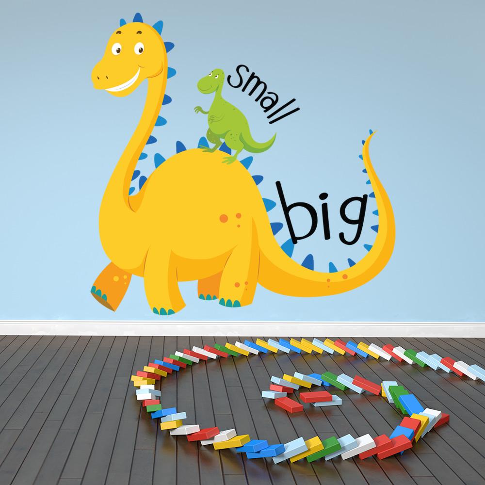 Yellow & Green Dinosaur Wall Sticker Jurassic Dino Wall Decal kids ...