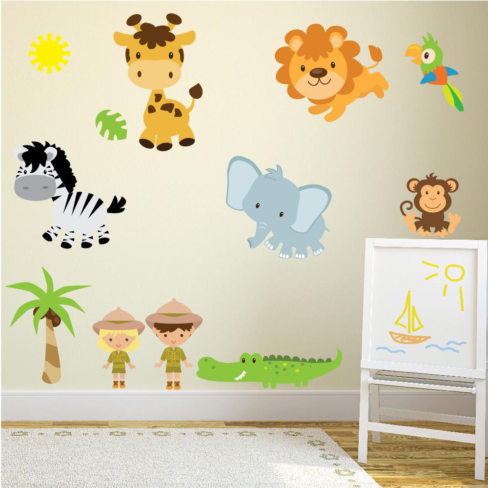 Safari Animal Wall Sticker Set Lion Giraffe Wall Decal Kids Nursery