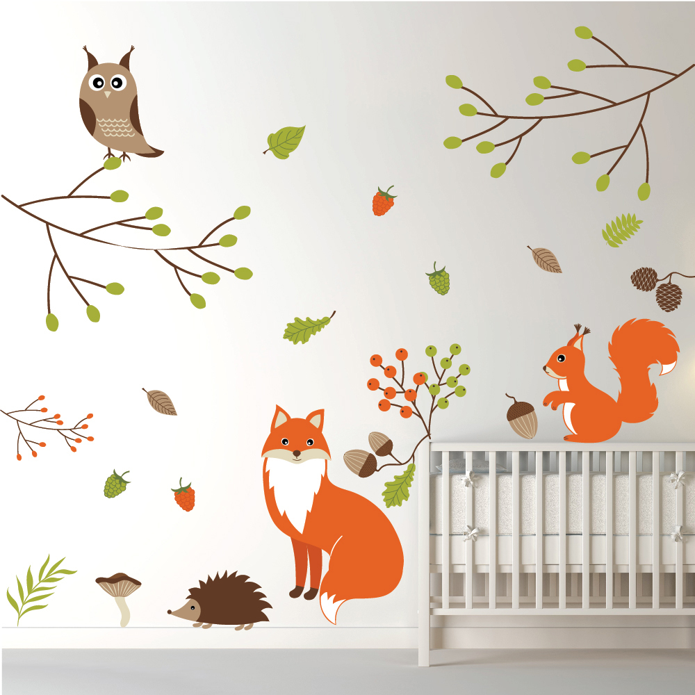 Woodland Animals Wall Sticker Set Fox owl Wall Decal Kids Bedroom ...