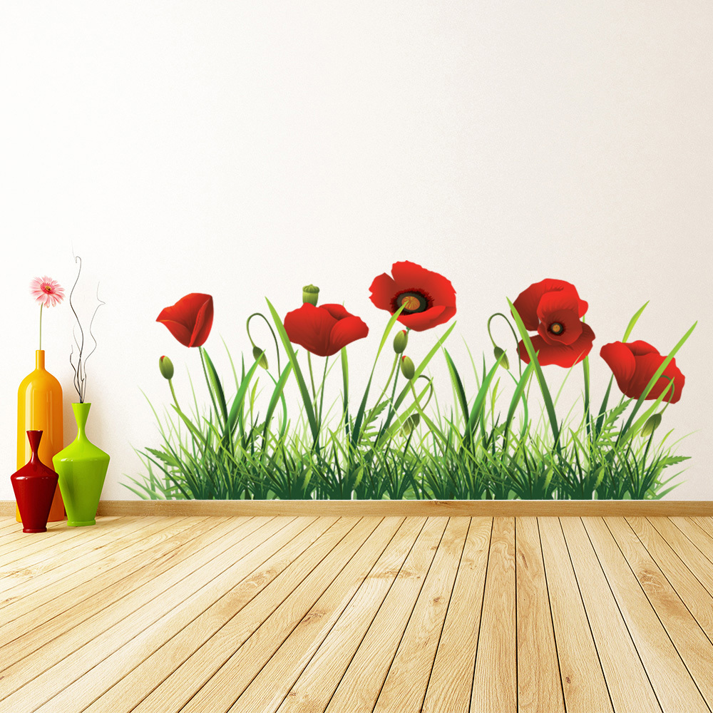 Red Poppy Flowers Wall Sticker Floral Wall Decal Living Room Home